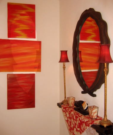 Foyer in Red, , , Living Rooms Design