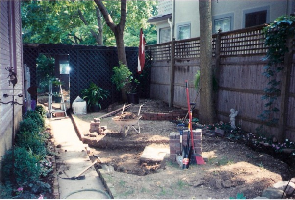 Brick patio for rental property, This is extremely small back yard in a historic neighborhood.  I made this brick patio for my friend.   , work in progress , Patios & Decks Design