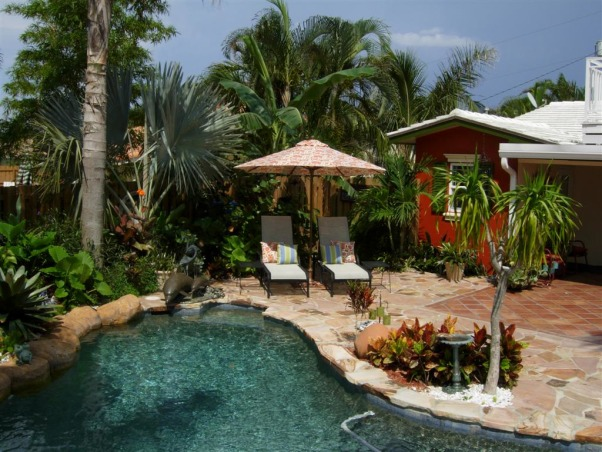 South Florida Caribbean Style Home, Tropical Two Story South Florida home customized in Caribbean Style with tropical landscape retreat, tropical pool and hot tub, Home Exterior Design