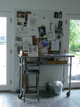 Garage Turned Art Studio, I started working professionally as an artist and needed a studio. I have several children so I work from home. We converted the garage to the studio. The space is broken down into areas - biz prep inspiration drawing painting gallery. , Drawing area - small easle drawing supplies board for projects, Garages Design