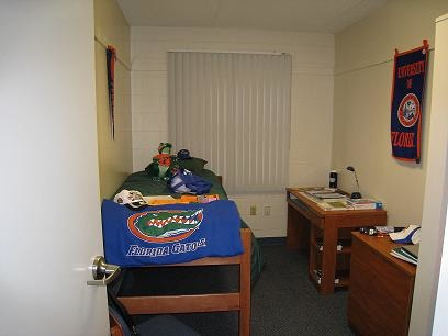 "Making a ""home"" at University of Florida, My granddaughter had chosen her colors   purchased bedding & a MM poster when I started looking on RMS.  We'd like to credit  ""I LOVE my dorm"" as you'll see we got ideas from her.   We hope she is flattered.  We also added many other touches to make a drab room  pretty comfy and cozy.   , This is the ""model"" room shown to prospective students.......   (We forgot to take photos before we started decorating), Dorm Rooms Design"