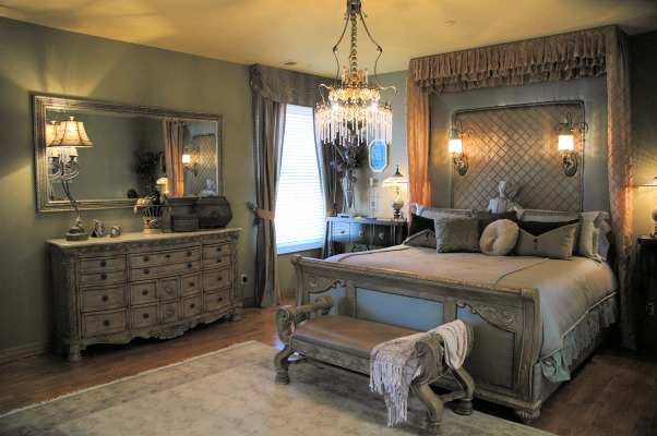 ROMANTIC MASTER BEDROOM, I designed and constructed the bedcreated all the beddingpillowsand drapes., Bedrooms Design