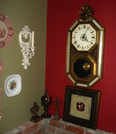 "French Country Dining in ""RED""!, Freshly painted and redecorated French Country dining room!, I found this old looking French clock at a yard sale...$2...I just love it!, Dining Rooms Design"