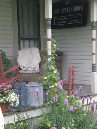 Back Door Guest Are Always Best!, This is our back porch.  The Hilton House sign was salvaged from a historic home that had a card shop in it for many years.     , One of my favorite annuals is my Black Eyed Susan Vine.  , Porches Design