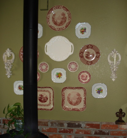"French Country Dining in ""RED""!, Freshly painted and redecorated French Country dining room!, A closer view of some of my English ironstone and red transferware collection., Dining Rooms Design"