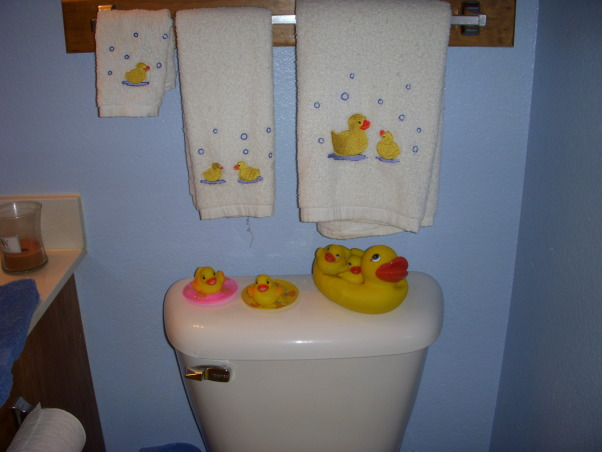 Ducky bathroom, This is a repost of my ducky bathroom.  We love it and so do the nieces.  I was just about to rearange some of the ducks and started wondering if maybe I should paint the wood white?  , , Bathrooms Design