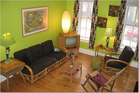 Vintage 50's Living Room, My house is Victorian but this room has a mid-century flair.  Everything is from thrift stores even the George Nelson Bubble Lamp.  Not including framing this room was put together for about $200., Living Rooms Design