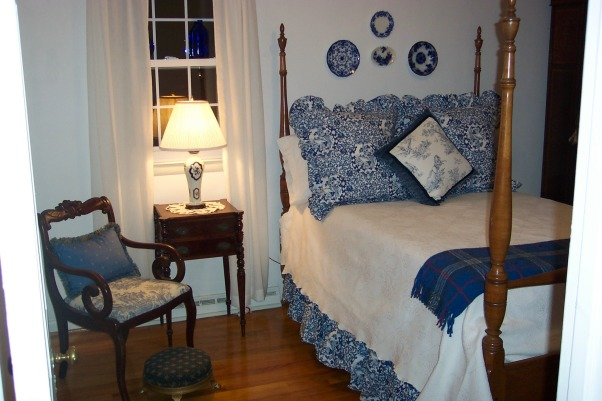 Small Guest Bedroom 12x11, Guest Bedroom was done w/ my favorite English armoire( not shown) and antique nightstand and vintage walnut chair wrapped in blue toile to tie in w/ the Ralph lauren shams toile pillow., Bedrooms Design