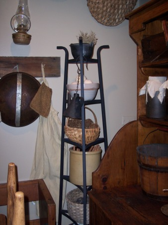 "Country Primitive Dining Room, Here are some pictures of our dining room. I know there is allot to look at...lol But this is the way we like it. I love all the old things....they give me such a ""homey"" feel. We just finished our ""remodel"" on the Dining Room about 6 months ago. Nothing needed to be done but to make this house our home this is what we have done....We add new fixtures boarding up the ceiling & painting the walls & trim. , The bowl rack isn't old....but is one of the very few things in this house that isn't old. But it works great to store stuff...:), Dining Rooms Design"
