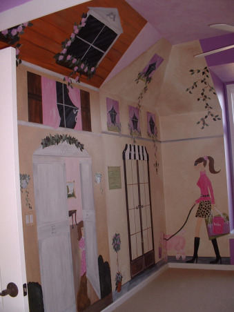 French Village Girls' Room, This is an entire room every inch painted to reflect a little French village theme.   Pictures never do justice.... but you get the idea.   Bed (harlequin diamond area) is a gorgeous loft.  Very fun room to paint!, Girls' Rooms Design