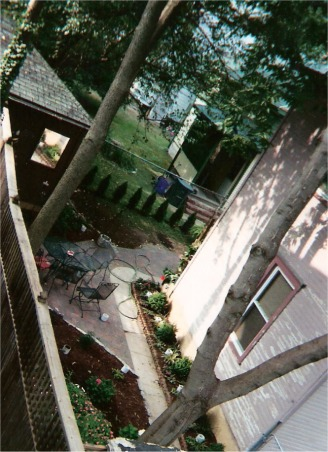 Brick patio for rental property, This is extremely small back yard in a historic neighborhood.  I made this brick patio for my friend.   , the brick patio from the top view, Patios & Decks Design
