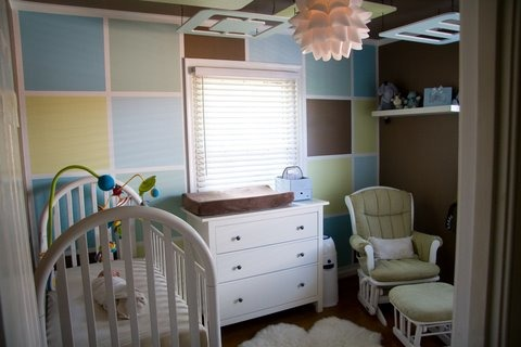 "Modern Baby Boy nursery on a Budget! , We wanted a Modern Boy nursery that looked design quality without the high designer cost.....our total cost including all supplies and furniture was under $800!  The ceiling pieces were cut from  5/8"" plywood and painted to match the block wall.  We gave the look of crown molding by taping and painting to create this illusion.  We were inspired by another design we found and improved upon it  to fit our own style and taste. We used no VOC paint throughout and organic bedding.  , If someone was having a little girl this design could easily be used by changing out the blue colors for puples and pinks. , Nurseries Design"