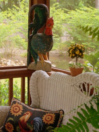 "Welcome to my porch and meet the two old ""ladies"" I rescued from the landfill ! , I picked up these two old chairs dressed them in new ""frocks"" and now they sit on my porch waiting for the next party!  Love second chances don't you? , Here's my  ""Goodwill Rooster""...., Porches Design"