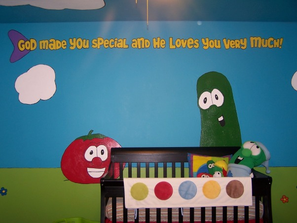 "Veggie Tales Nursery, First baby's nursery! We aren't finding out the sex of the baby until we meet him/her for the first time. We loved the idea of a ""christian"" themed nursery but aren't big fans of Noah's Ark decor so...Veggie Tales it is , The main/blank wall with the crib Bob the Tomato and Larry the Cucumber, Nurseries Design"