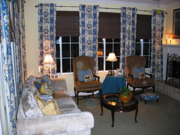 French Country Retreat, This is our provencal inspired living/family room.  French blue and gold set the color stage.  , , Living Rooms Design