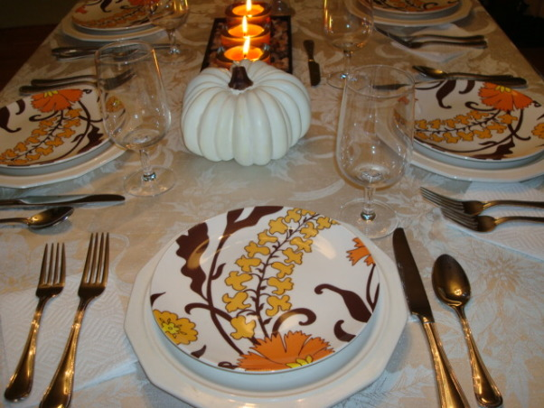 Thanksgiving Table Setting, This was our simple Thanksgiving table setting for our family this year.  Just the 6 of us and 2 mastiff dogs :), , Dining Rooms Design