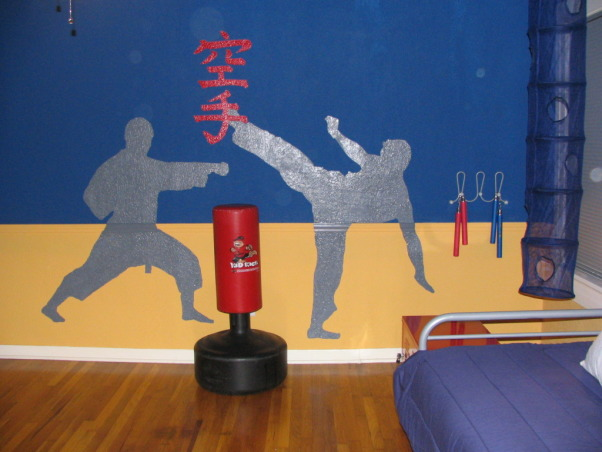 Karate Dojo, This space is inspired by a little boy's love of karate. The space is sparse so he can practice karate but also gives the feel of a Dojo. , Boys' Rooms Design