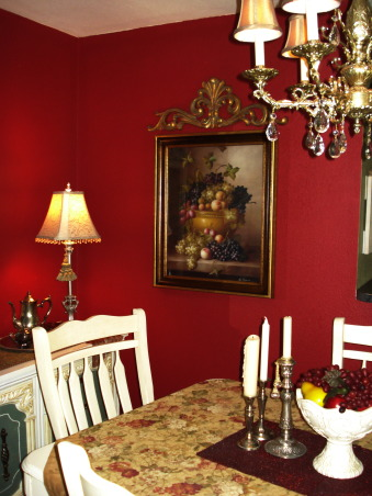 "French Country Dining in ""RED""!, Freshly painted and redecorated French Country dining room!, Hi ya'll...let's see...I rehung an old chandelier (that I had stored away) and added gold shades to it.  New wall art...I just love this print!!!!, Dining Rooms Design"