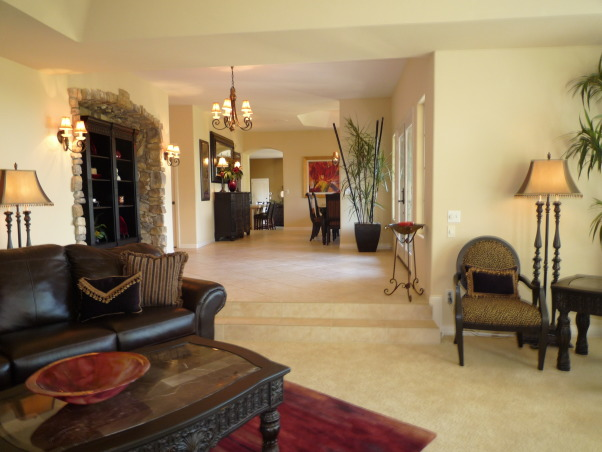 Elegant Entry, Living & Dining Room-Before and After, The foyer living room and dining room all ran together for one large space. Dramatic black furnishings with pops of red., After, Entryways & Halls