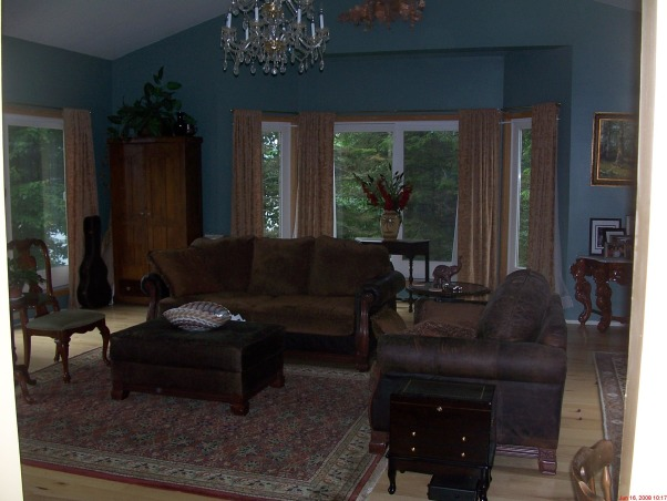 Italian Elegance, My Great Room with 4 sets of sliders cathedral ceiling and tall fire place. Gold tapestry curtains.  Ceiling needs attention with color. Would like bookcases on the wall as well as crown molding help!, , Living Rooms Design