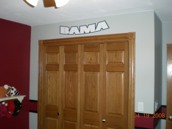 "Alabama Bedroom, My 3 year old loves his ""Bama"" room! (Roll Tide!)  Everyone always wonders how an Iowa boy got a Bama room but his godfather lives there and played baseball for the University of Alabama.  My husband has been a fan for a long time!  , , Boys' Rooms Design"