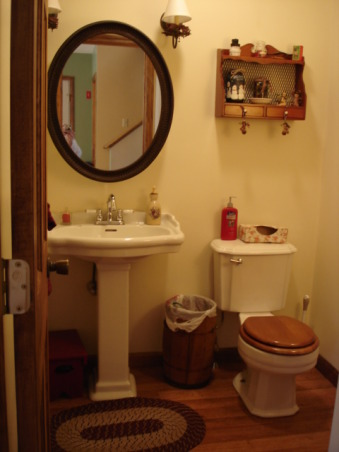 Country, cozy half bath, Again we did everything new look old. Carefully choosing fixtures antiquing new items and mixing in old treasures..., , Bathrooms Design