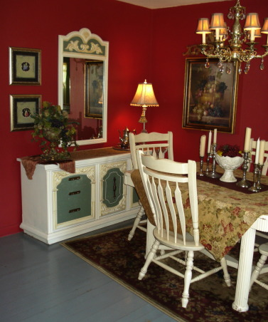 "French Country Dining in ""RED""!, Freshly painted and redecorated French Country dining room!, I've been working on this dining room for awhile...I still have some tweaking to do...would like to get slip covers for the chairs...a new table centerpiece....got any ideas?  Thanks for visiting!!!   ****UPDATE****...the last 5 photos are of an Autumn tablescape that I've recently done!  Happy Autumn!!!  Chari, Dining Rooms Design"