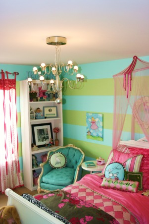 Flea Market chair fits just right, Added this flea market chair . Looks as though it was made for this room. The color was perfect., As my daughter grows I can replace the art with vintage Vogue cover and change out pillows for something in pearls or blk/white , Girls' Rooms Design
