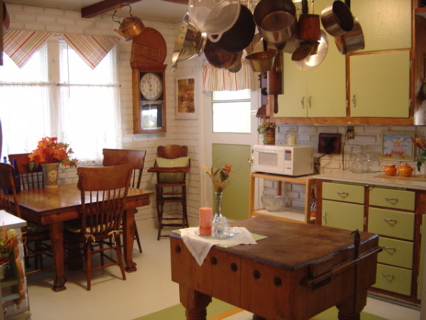 BEACHY COTTAGE KITCHEN, and our kitchen with an antique butchers block painted floors and a wagon wheel pot rack., Kitchens Design