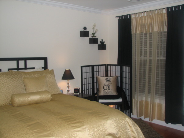 Gold Guest Room, A gold and black guest bedroom.  , , Bedrooms Design