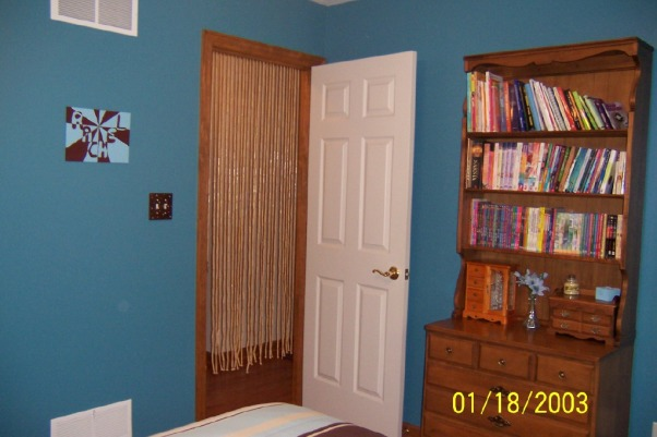 ~Blue and Brown Teen Bedroom~, Hi this is my bedroom that I personally designed.  I'm only 15 years old and I really enjoy decorating and designing spaces.  My family and I just finished painting it 2 months ago and I now love spending time in my room.  I hope that you enjoy looking at my pictures.  Please ignore the date on the pictures as my camera had the wrong date.  Feel free to post comments and I would appreciate it if you looked at all of the images and rated my space!!  Thanks for looking!!, Here you can see my doorway that has a tan beaded bamboo curtain.  It looks weird in this picture but it adds a lot to the space.  To the left of the door is a lightswitch plate that I painted at mud pie.  It has blue and tan polka dots on it.  There is also a unique piece of artwork that I made myself., Girls' Rooms Design