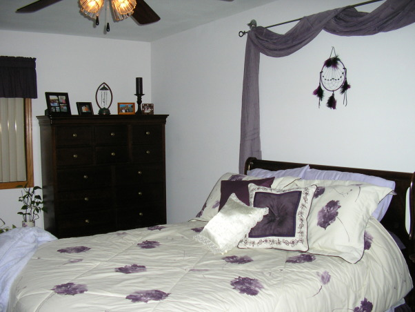 Mauve Bedroom, Mauve is my favorite color and I find it very relaxing so I made my bedroom my favorite room with mauve walls and purple and white bedding., I found a perfect 14 drawer squirer's chest to fit into the corner of my bedroom., Bedrooms Design