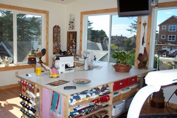 Dream Quilting Studio, Quilting/Sewing/Hobby Space, We created this L shaped sewing center with lots of storage and space., Living Rooms Design