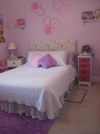 Little girl bedroom redo, A redo for my five year old! From bright bubblegum pink to soothing lilac with pops of purple and pink for fun!  I did some sewing- valance slipcovered headboard bookcase cover and my daughter and I did the projects ( canvas signs lampshade fabric cover and painted letters in her name), , Girls' Rooms Design
