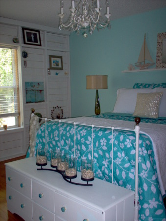 Master bedroom changes, I saw a wall on The Lettered Cottage that I loved and decided to have my wall changed too. I wanted a beachy feel to my new space. I would love comments....good or bad!  Thanks to Layla and Kevin Palmer! , Bedrooms