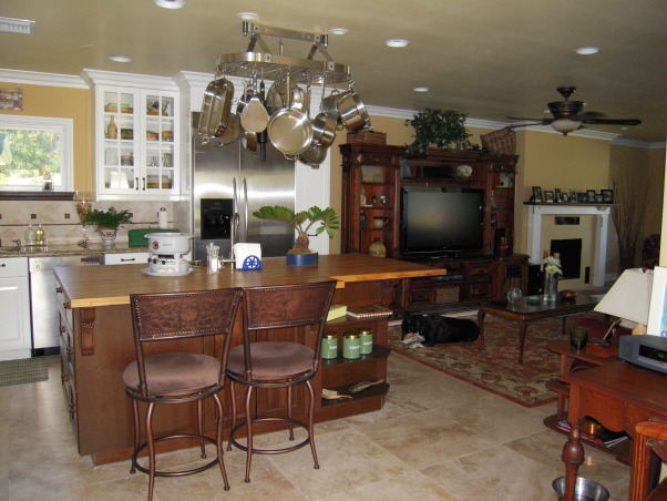 "Tuscan Style Heavenly Kitchen!!!!!, I tell my husband almost everyday how much I love my new kitchen - which he ""built"" for me!  I had the typical 60's or 70's kitchen which only had enough space for one cook and where you felt isolated from the rest of the home.  We demolished a cinder block wall that kept me divided and lonely from the dining/living area and created this fabulous Great Room.  Now, when we have gatherings, everyone always sits around the huge island in the center.  Couldn't be more thrilled!!!!!, large, island,  bar stools, is where everyone at the, party, wants to be!           , Kitchens"