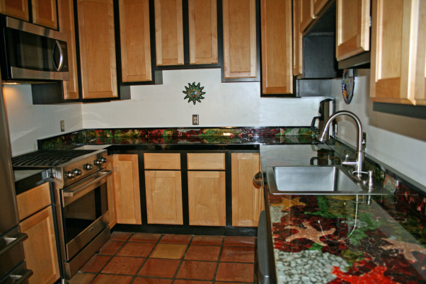 "Small Efficient Kitchen. ""oh and gorgeous"", Colorful recycled glass mosaic counter top. Home-made tide pool out of glass., Kitchens"