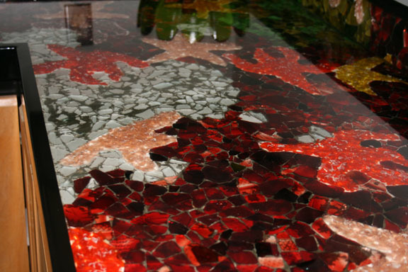 colorful tidepools, Colorful recycled glass mosaic counter top. Home-made tide pool out of glass., Kitchens