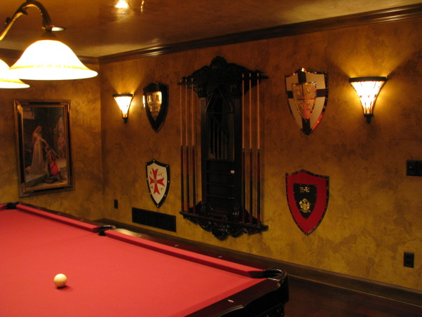 Old World Basement Renovation, This is my basement renovation done in an old world style. The family room and billiard room have a medieval theme. There are 'before' photos that I feel show quite a dramatic change. I hope you enjoy the photos. Cheers!!! , Living Spaces