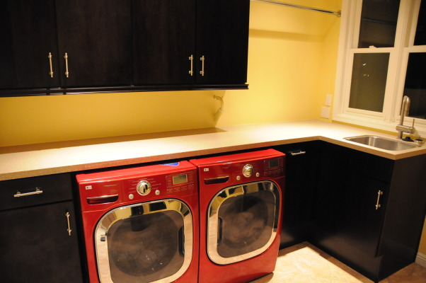 "Laundry Room ""1985 Blah"" to 2012 Luxury Modern, We took our old 1985 original laundry room and modernized it with brand new fixtures, appliances and cabinetry/countertops., Modern Day Version of the Laundry Room, Closets & Utility"