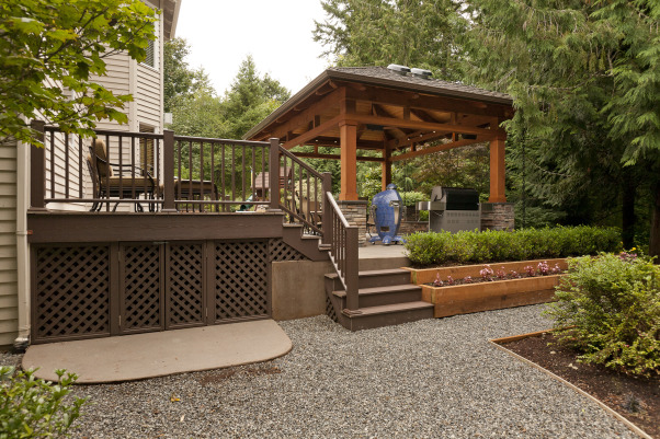 Northwest Outdoor Solitude, Outdoor lifestyle enhancement for year-round enjoyment in moderate northwest climate., Patio was raised from flush with grade at far end to 3-foot high planters and stair system.  Azek deck attaches to house for maintenance-free access., Outdoor Spaces
