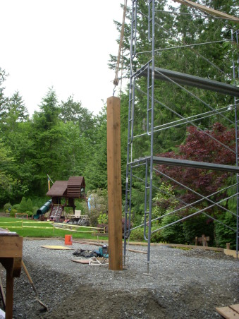 Northwest Outdoor Solitude, Outdoor lifestyle enhancement for year-round enjoyment in moderate northwest climate., Setting each of the columns using block & tackle off 2 stages of scaffolding., Outdoor Spaces