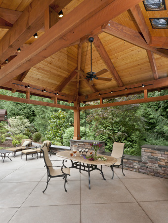Northwest Outdoor Solitude, Outdoor lifestyle enhancement for year-round enjoyment in moderate northwest climate., Ceiling fan and lighting maintain year-round enjoyment of timberframe structure. Dual exhaust fans on the roof ensure the area is not smoked out by the grill., Outdoor Spaces