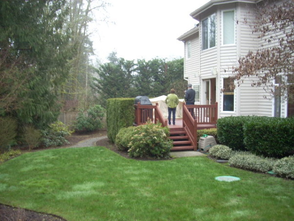 Northwest Outdoor Solitude, Outdoor lifestyle enhancement for year-round enjoyment in moderate northwest climate., Before: Modest deck and yard abutting green belt.  Goal: Create an outdoor space with detached covered strucutre for year-round entertaining., Outdoor Spaces