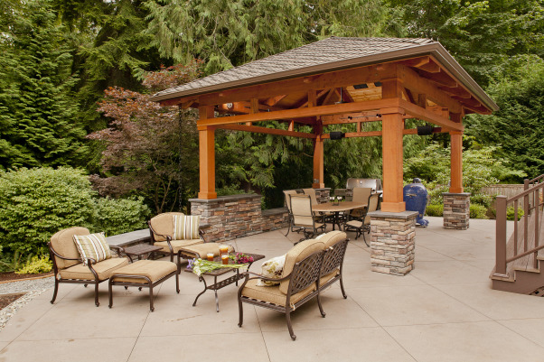 Northwest Outdoor Solitude, Outdoor lifestyle enhancement for year-round enjoyment in moderate northwest climate., Seating options on the sanded finish patio., Outdoor Spaces