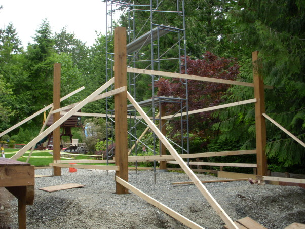 Northwest Outdoor Solitude, Outdoor lifestyle enhancement for year-round enjoyment in moderate northwest climate., Columns are braced vertically in preparation for filling each of the footings with concrete., Outdoor Spaces