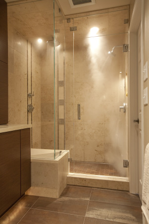 Integrated Contemporary Bath, Warming blend of textures, colors and ergonomic features that meld contemporary design with the traditional home., Steam generator in adjacent toilet room wall.   , Bathrooms