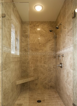 Bellagio Inspired Master, Updating master bath utilizing existing fixture locations.  Goal of improvements to fulfill customer's experience in the Bellagio Las Vegas Hotel., Hinged frameless shower with polished marble walls and tumbled marble floor., Bathrooms