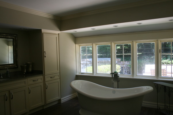 "Master Bathroom, We gutted the 1984 master bathroom and remodeled using the 2009 HGTV home master bath as a ""go by""., free standing tub replaced a built in tub with steps, opening up the room and creating a spa feeling. , Bathrooms"