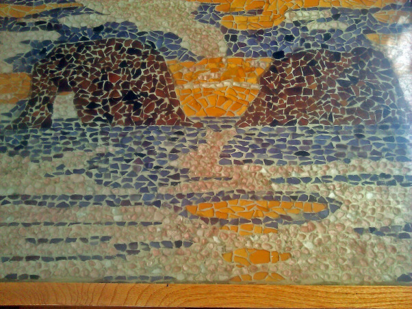colorful tidepools, Colorful recycled glass mosaic counter top. Home-made tide pool out of glass., This table has been in use for over 10 years. Still looks great., Kitchens